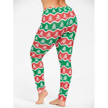 Plus Size Christmas Zigzag Tree Pants - RED/GREEN 2XL