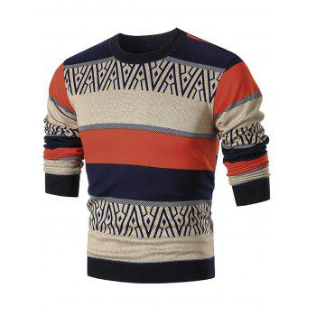Color Block Crew Neck Pullover Sweater - COLORMIX 3XL