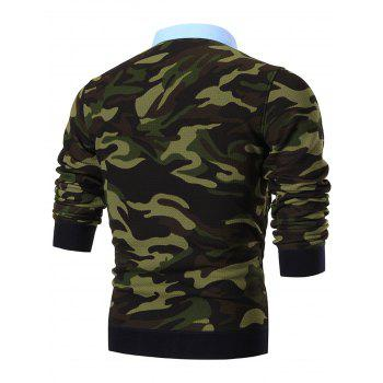 Shirt Neck Camouflage Print Pullover Sweater - GREEN 3XL