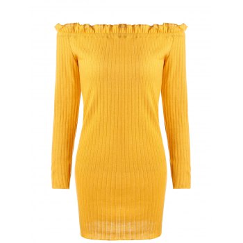 Off The Shoulder Ribbed Knit Dress - EARTHY EARTHY
