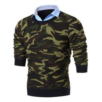 Shirt Neck Camouflage Print Pullover Sweater - GREEN GREEN