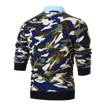 Shirt Neck Camouflage Print Pullover Sweater - BLUE 3XL