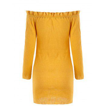 Off The Shoulder Ribbed Knit Dress - EARTHY XL
