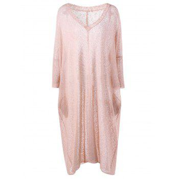 Plus Size V Neck See Thru Longline Sweater - LIGHT PINK 2XL