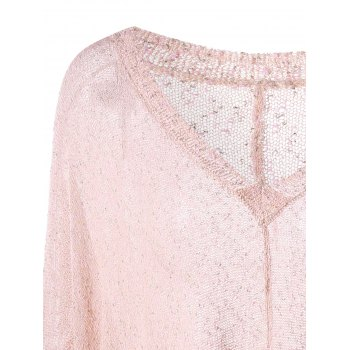 Plus Size V Neck See Thru Longline Sweater - LIGHT PINK 3XL