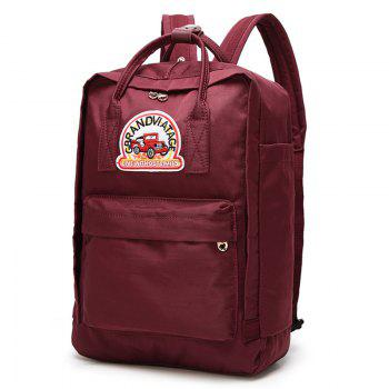 Car Letter Embroidery Backpack - RED VERTICAL