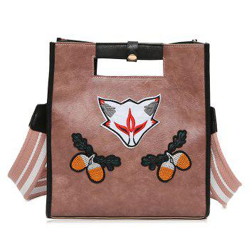 Fruit Fox Embroidery PU Leather Tote Bag - PINK PINK