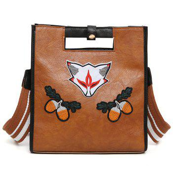 Fruit Fox Embroidery PU Leather Tote Bag - BROWN BROWN