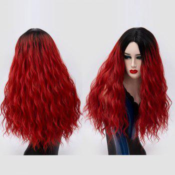 Ombre Long Center Parting Water Wave Synthetic Party Wig - BLACK AND RED BLACK/RED