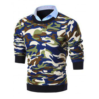 Shirt Neck Camouflage Print Pullover Sweater - BLUE BLUE