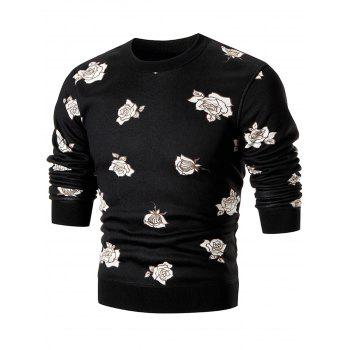 Rose Print Knitted Pullover Crew Neck Sweater - BLACK BLACK