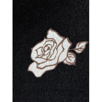 Rose Print Knitted Pullover Crew Neck Sweater - 3XL 3XL