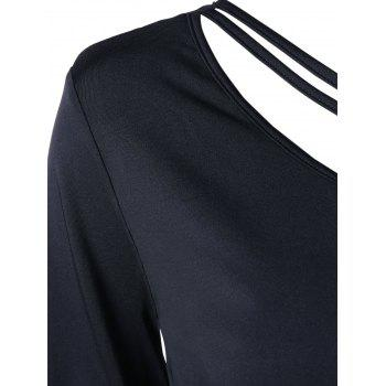 One Shoulder Long Sleeve Top - BLACK BLACK