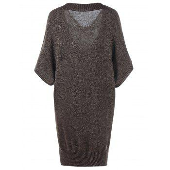 Plus Size Sheer Batwing Sleeve Longline Sweater - XL XL