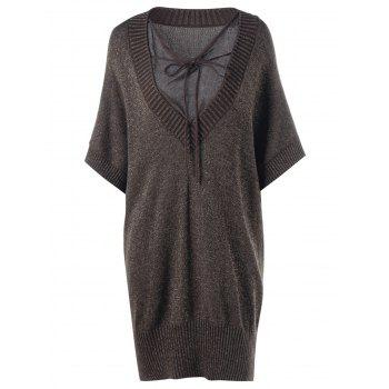 Plus Size Sheer Batwing Sleeve Longline Sweater - BROWN 5XL