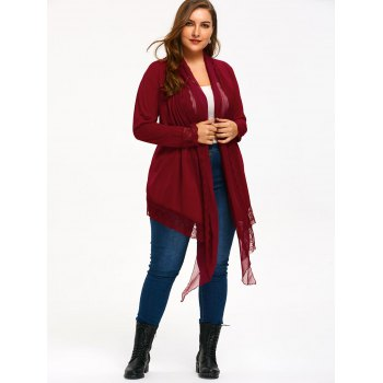 Lace Trim Plus Size Criss Cross Cardigan - WINE RED XL
