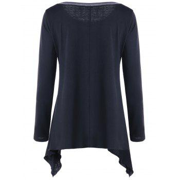Asymmetric Color Block Long Sleeve Top - 2XL 2XL