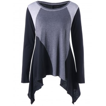 Asymmetric Color Block Long Sleeve Top - GRAY 2XL