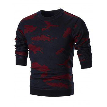 Camo Print Crew Neck Knit Sweater - RED RED