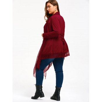 Lace Trim Plus Size Criss Cross Cardigan - WINE RED WINE RED