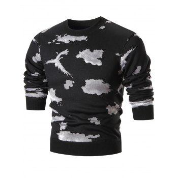 Camo Print Crew Neck Knit Sweater - WHITE WHITE