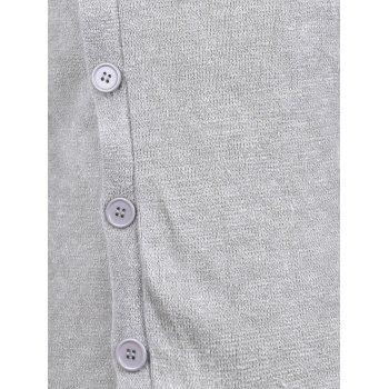 Knitted Oblique Button Up Cardigan - S S