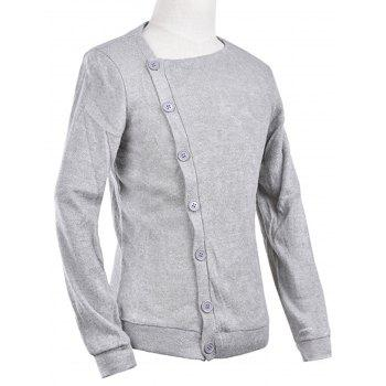 Knitted Oblique Button Up Cardigan - LIGHT GRAY L
