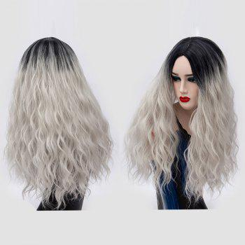 Ombre Long Center Parting Water Wave Synthetic Party Wig - SILVER GRAY SILVER GRAY