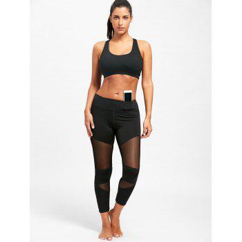 Sheer Workout  Leggings with Mesh Panel - L L
