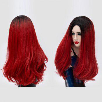 Long Middle Part Fluffy Ombre Slightly Curly Synthetic Party Wig - BLACK AND RED BLACK/RED