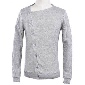 Knitted Oblique Button Up Cardigan - LIGHT GRAY XL