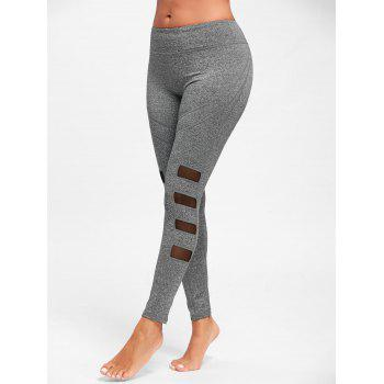 Mesh Insert Workout Tights - GRAY S