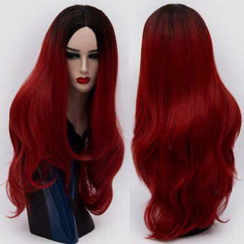 Center Parting Ombre Long Slightly Curly Synthetic Party Wig - DEEP RED DEEP RED