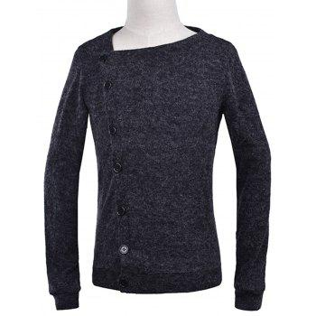 Knitted Oblique Button Up Cardigan - DEEP GRAY XL