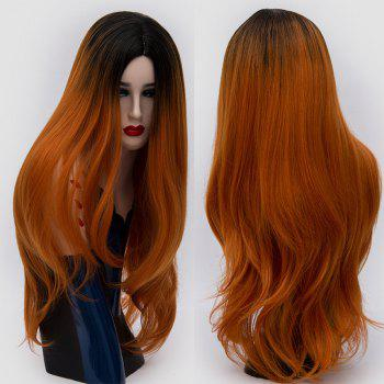 Center Parting Ombre Long Slightly Curly Synthetic Party Wig - JACINTH JACINTH
