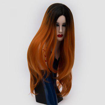 Center Parting Ombre Long Slightly Curly Synthetic Party Wig - JACINTH
