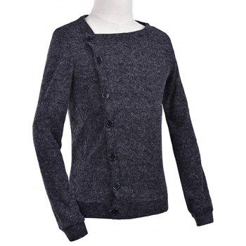 Knitted Oblique Button Up Cardigan - DEEP GRAY L