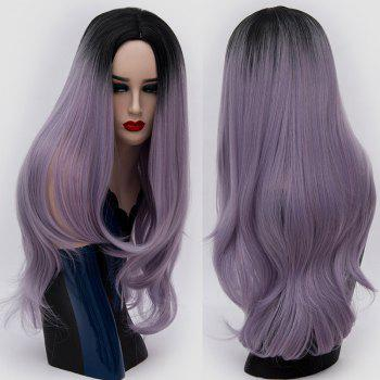 Center Parting Ombre Long Slightly Curly Synthetic Party Wig - LAVENDER FROST LAVENDER FROST