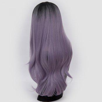 Center Parting Ombre Long Slightly Curly Synthetic Party Wig -  LAVENDER FROST