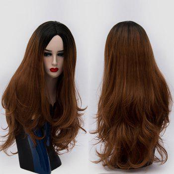 Center Parting Ombre Long Slightly Curly Synthetic Party Wig - BROWN BROWN