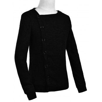 Knitted Oblique Button Up Cardigan - 2XL 2XL