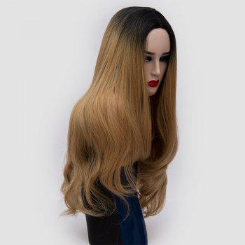 Center Parting Ombre Long Slightly Curly Synthetic Party Wig - GOLD BROWN