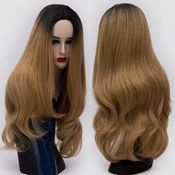 Center Parting Ombre Long Slightly Curly Synthetic Party Wig - GOLD BROWN GOLD BROWN