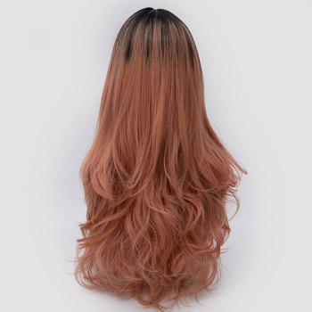 Center Parting Ombre Long Slightly Curly Synthetic Party Wig -  ORANGEPINK