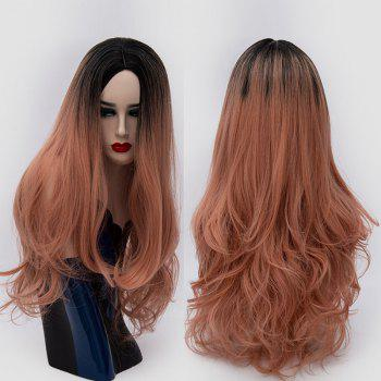 Center Parting Ombre Long Slightly Curly Synthetic Party Wig - ORANGEPINK ORANGEPINK