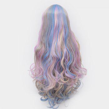 Middle Part Shaggy Colorful Long Curly Synthetic Party Wig - COLORFUL