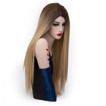 Center Parting Long Straight Synthetic Colormix Party Wig - BROWN