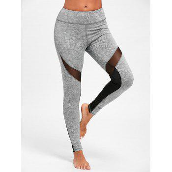 Mesh Insert High Waist Yoga Leggings - GRAY S