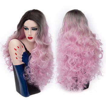 Middle Part Fluffy Colormix Long Curly Party Synthetic Wig - BLACK AND PINK BLACK/PINK
