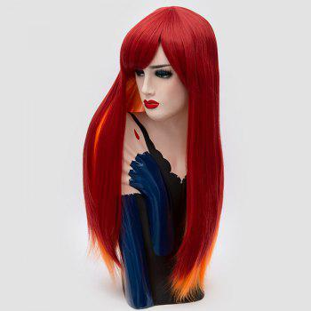 Side Bang Long Straight Synthetic Two Tone Party Wig - RED